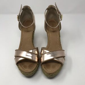 Boden Wedge Sandals Rose Gold Size 8